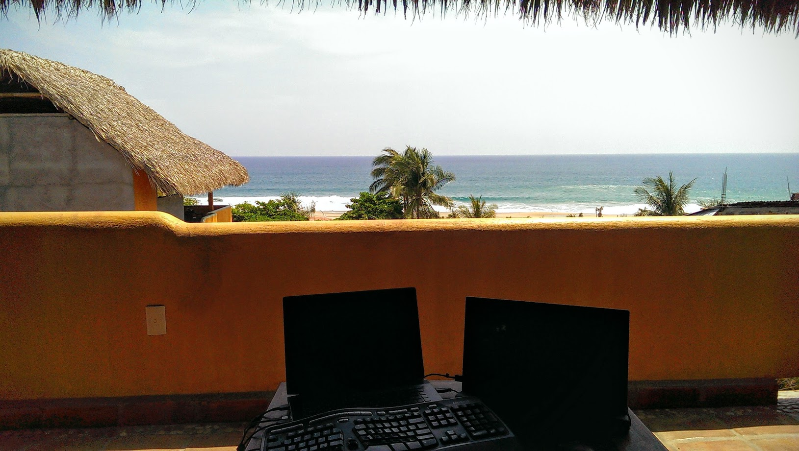 The view from my surf-spot office in Puerto Escondido